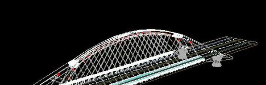 نقشه 3 بعدی کامل پل کابلی در اتوکد